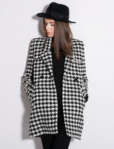 Black White Houndstooth Long Sleeve Double Breasted Slim Coat - Fashion Clothing, Latest Street Fashion At Abaday.com