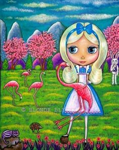 """""""Alice in Wonderland and the Flamingos"""" by Blonde Blythe"""