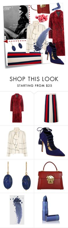 """""""Today's Editorial!"""" by styleanatomy ❤ liked on Polyvore featuring Post-It, Joseph, Gucci, Tory Burch, Schutz, Aurélie Bidermann, Dolce&Gabbana, Local Celebrity and Lipstick Queen"""