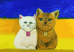 cute cat painting on a colorful background