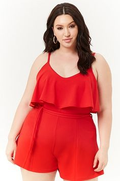 Plus Size Flounce Cami Romper Curvy Outfits, Cute Casual Outfits, Casual Wear, Curvy Girl Fashion, Love Fashion, Plus Size Fashion, Plus Size Dresses, Plus Size Outfits, 4th Of July Outfits