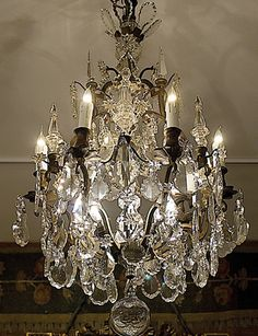 Chandelier French Chandelier, Antique Chandelier, Chandelier Lighting, Mirrors And Chandeliers, Crystal Chandeliers, Wrought Iron Chandeliers, Lamp Light, Light Up, Vintage Lighting