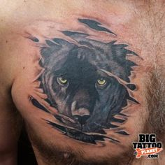 black-panther-torn-ripped-skin-tattoo-on-chest.jpg (460×460)