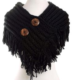 OS~Shorty Poncho~Cable Knit Button Collar Scarf~Fringe Cowl Infinity~Neck Warmer #Unbranded #ButtonCollarScarf #casual