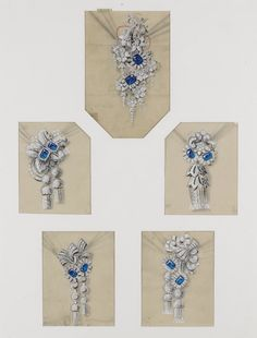COLLECTION OF DRAWINGS, BOUCHERON, 1950S Pencil, gouache, acrylic and pen on tracing paper  Comprising: twenty-five images in two frames, depicting hand coloured designs for floral and foliate designs for brooches, pendants and a ring to be created with precious and semi-precious gemstones, some annotated and numbered. Pendant Design, Pendant Set, Jewelry Design Drawing, Buy Gemstones, Jewelry Illustration, Jewellery Sketches, Diamond Design, Art Deco Jewelry, Photo Jewelry