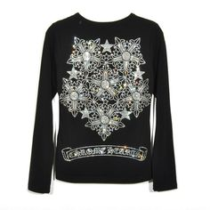 7867de4e1f7c Big Diamonds Babysbreath and Logo Chrome Hearts Black T-Shirt