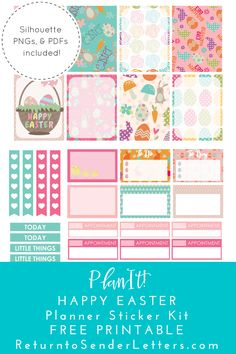 Free Printable Easter Planner Stickers from Return to Sender: Letters to the World