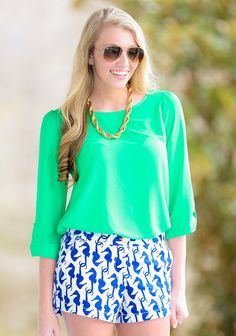 EVERLY:Dream On Blouse-Kelly Green - $40.00