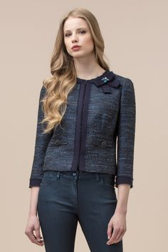 Lurex and mixed patterned fabric jacket with embroidery Luisa Spagnoli