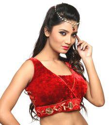 Buy Red velvet embroidery  non padded readymade sleeveless blouse sleeveless-blouse online