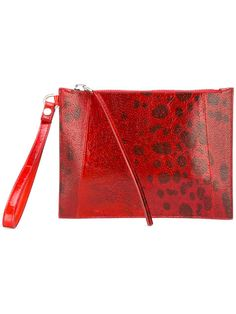 RICK OWENS printed clutch bag. #rickowens #bags #leather #clutch #hand bags #