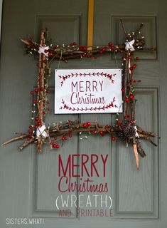 Merry Christmas Wreath and Free Printable - Sisters, What!
