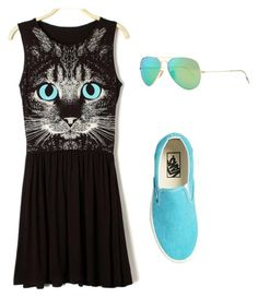 """""""I would ware this meow"""" by jillian-williams ❤ liked on Polyvore featuring Vans and Ray-Ban"""