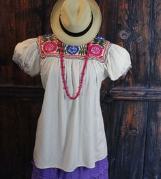 Multi Color Hand Embroidered Blouse on Muslin Mayan Chiapas Mexico, Hippie, Boho #Handmade #blouse