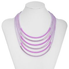 Curved Bar Statement Necklaces Layered Multi Strand Woven Cord Tube Necklace