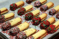 JAM SANDWICHED BUTTER COOKIES DIPPED IN CHOCOLATE & SPRINKLES! Michele and I tried this in 2013 and they tasted good but to stiff to pipe out of pastry bag.