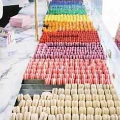 rainbow of macarons