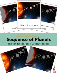 Montessori Sequence of Planets Cards printables for learning about positions of planets in space plus a 3-part cards!