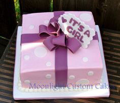 Simple Gift Box Baby Shower Cake, but in pale blue and white