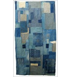 """19th c. Japanese cotton futon cover called """"Boro"""" made from recycled indigo dyed cloth in patches joined together."""