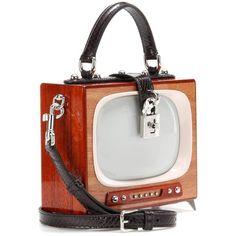 Dolce & Gabbana Dolce Box TV Snakeskin-Trimmed Wooden Shoulder Bag ($7,845) ❤ liked on Polyvore featuring bags, handbags, shoulder bags, dolce gabbana shoulder bag, wood purse, shoulder bag purse, white handbags and wood handbag