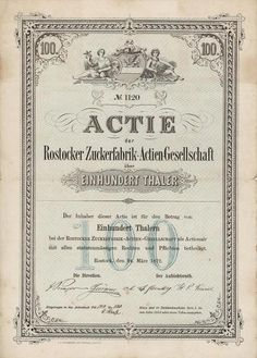 HWPH AG - Historische Wertpapiere - Rostocker Zuckerfabrik-Actien-Gesellschaft / Rostock, 24.03.1872, Gründeraktie über 100 Thaler