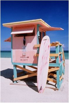 Pink and Blue Lifeguard Station