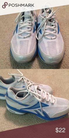 Reebok easy tone tennis shoes Blue and white hardly worn reebok easy tones Reebok Shoes Athletic Shoes
