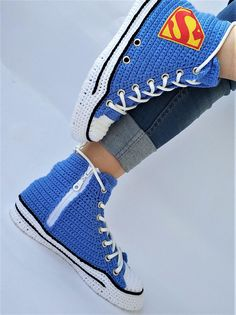 20807b39497c Crochet Converse Shoes Blue Authentic DC Comics- Superman Chuck Taylor All Star  Womens Mens Canvas Sneakers Hi Tops