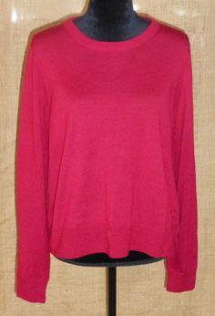 J. Crew women sweater knit 100% merino wool red size XL #JCrew #VNeck