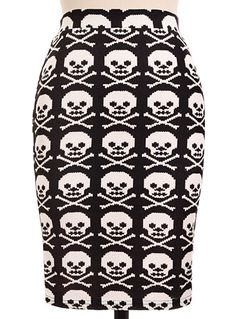 Sweater Knit Skulls Punk Pencil Skirt