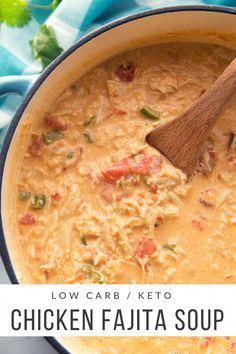 Carb Chicken Fajita Soup (Keto Friendly) This Low Carb Chicken Fajita Soup is delicious, full of flavor, and extremely filling.This Low Carb Chicken Fajita Soup is delicious, full of flavor, and extremely filling. Crock Pot Recipes, Cooking Recipes, Healthy Recipes, Ketogenic Recipes, Cooking Tips, Simple Soup Recipes, Health Food Recipes, Carb Free Recipes, Ham Recipes