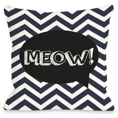 One Bella Casa Doggy Décor Chevron Meow Talk Bubble Pillow