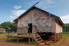 Kreung minority longhouse in the village of Ou Chum (O'Chum) Laos, French Colonial, Historical Artifacts, Amazing Buildings, Travel Photographer, Small Towns, Asia, Architecture, House Styles