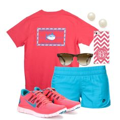 Sporty Style: pink running top, teal running shorts, pink and teal Nike shoes, some shades, chevron hand purse and pearl earrings! <3
