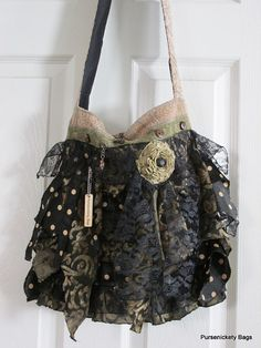 Large Romantic Handbag Gypsy Victorian Shabby by PursenicketyBags.  11/30/14 etsy.com $85.00