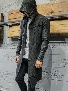 2&Y Men Stylish Long Assassin Knitted Hoodie Ripped Blouse - Dark Gray