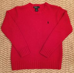 POLO Ralph Lauren RED CREWNECK Sweater 100% COTTON Long Sleeve Discount Clothing, Men Sweater, Crewneck Sweater, Christmas Sweaters, Crew Neck, Polo Ralph Lauren, Pullover, Long Sleeve, Cotton