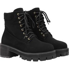 Black Round Toe Lace Up Boots ($47) ❤ liked on Polyvore featuring shoes, boots, ankle booties, clothes - shoes, shoes/boots, black, platform boots, chunky black booties, black booties and chunky black boots