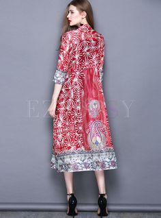 09a45a6e1698ee Ethnic Stand Collar Print Vintage Maxi Dress