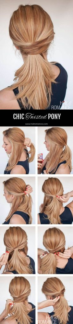 3 chic ponytail tutorials to lift your everyday hair game - Hair Romance - Hair Romance - The chic twisted ponytail tutorial - Ponytail Hairstyles, Hair Updo, Trendy Hairstyles, Beautiful Hairstyles, Office Hairstyles, Medium Hairstyles, Girl Hairstyles, Natural Hairstyles, Curly Hair