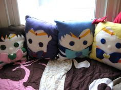 These are so freaking adorable! Pretty Soldier Sailor Moon Pillow  Inner Senshi by startrails @ etsy.