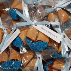 Baby Evans chocolate dipped fortune cookie baby shower favors by Simply Sweets, via Flickr Baby Shower Favours, Cute Baby Shower Ideas, Baby Shower Candy, Baby Shower Games, Baby Shower Parties, Baby Boy Shower, Shower Party, Baby Ideas, Baby Showers