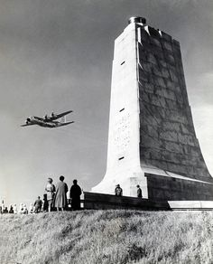 The Wright Stuff A US Air Force C-130B Hercules crew from the 773rd Troop Carrier Squadron at Langley AFB, Virginia, flies over the Wright Brothers National Memorial at Kill Devil Hill, North Carolina, in December 1963 to mark the sixtieth anniversary of the Wright Brothers' first flight. On 17 December 1903, Orville Wright achieved the world's first manned, powered, sustained, and controlled flight by a heavier-than-air vehicle, travelling 120 feet in twelve seconds. Ironically, the near...