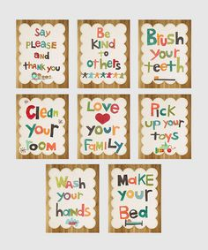 Take a look at this Good Manners Wall Card Set by Children Inspire Design on #zulily today!