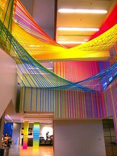 art installation made using tape...TAPE...by Megan Geckler  www.artistwebsitepro.com - website for artists with marketing for $4.95 a month.