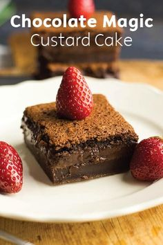 This Gluten-Free Chocolate Magic Custard Cake is decadently rich with 3 ooey-gooey, moist layers and surprisingly simple to throw together. Top each square with a sweet strawberry, or any fruit of your choosing, and serve for an easy holiday party dessert.