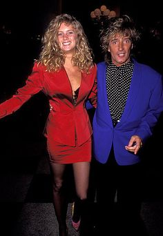 The hair! The blazers! Supermodel Rachel Hunter attended the 1991 show with then-husband Rod Stewart.