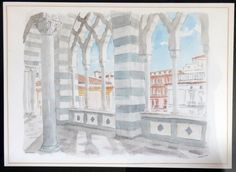 Amalfi, Italy. Amalfi Cathedral Cattedrale di Sant'Andrea/Duomo di Amalfi. By Thomas Hoehn, watercolor painted from a personal photograph.