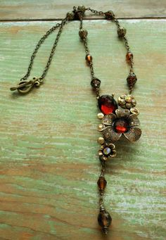 Recycled Vintage Bracelet Link Handmade Necklace-Topaz Brown Czech Jewelry-Floral Pendant Focal-Crystal Center Flowers-Filigree Beads Chain by BackAlleyDesignsINK on Etsy